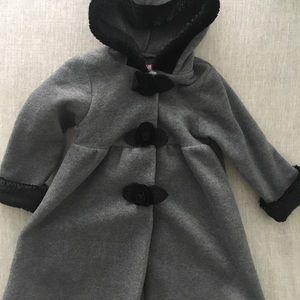 Beautiful fleece long coat w black roses trims